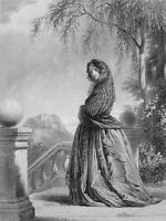 SOTLAND Fair Lady Tartana Folk Costume - 1860s Engraving Print