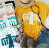 Women Eagle Animal Cartoon Short Sleeve Top Blouse Casual Funny Yellow T-Shirt