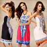 Hot Womens Summer Boho Sundress Strapless Mini Dress Casual Floral Bandeau Beach