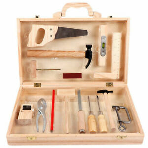 Kids DIY Woodwork Toolbox Junior Carpentry Tools Child Wooden Toy Set Gift S