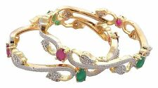 Indian American Diamond Gold Plated Bangles Set for Girls and Women_2.8