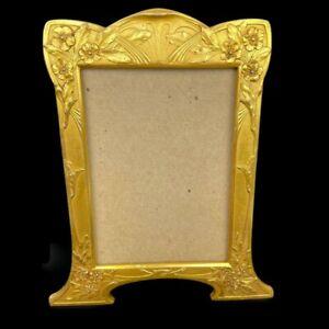 Art Nouveau Gold Gilded Brass Picture Frame Floral Leaf Easel Stand Signed AF