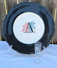 Vintage Syracuse China Dinner Plate And Cordial Glass Raven Bird Pink Blue