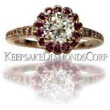 **14KT ROSE GOLD GIA. CERTIFIED DIAMOND & PINK SAPPHIRE HALO ENGAGEMENT RING**
