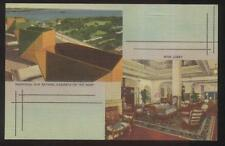 Postcard Miami Fl Hotel Roof Sun Bathing Cabinets & Main Lobby Dual view 1930's
