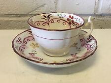 Antique 18th / 19th Century English Porcelain Cup & Saucer w/ Floral Decoration