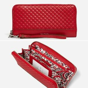 Vera Bradley RFID Accordion Wristlet CARDINAL RED Wallet Genuine Leather NWT $95
