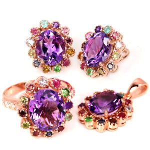NATURAL PURPLE AMETHYST, SAPPHIRE & CZ STERLING 925 SILVER FLOWER SET SIZE 7.5