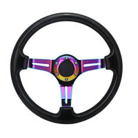Universal 350mm 14inch Deep Dish 6-Hole ABS Steering Wheel Neochrome Spoke Black