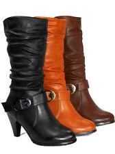 Elegante wadenhohe Damen-Stiefel mit Reißverschluss und hohem Absatz (5-8 cm)