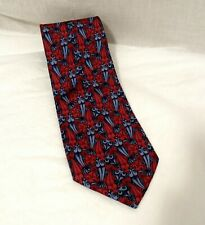 The Boxelder Company M.C Escher 100/% Silk Neck Tie Fish /& Boats Blue Red Vtg