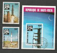 Haute-Volta 1973 Poste Aérienne feuillet & 2 timbres espace fusée Kennedy /T5042