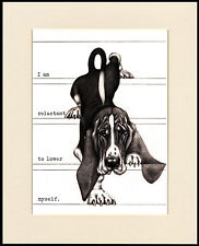 BASSET HOUND COMIC DOG PRINT MOUNTED READY TO FRAME #5