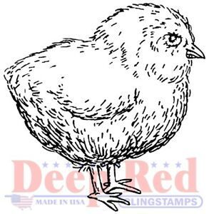 Deep Red Stamps Baby Chicken Rubber Cling Stamp