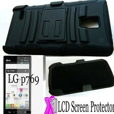 LG Optimus L9/P769 RUGGED HYBRID HARD&SOFT CASE COVER STAND+HOLSTER+SCREEN FILM