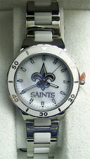 New Orleans Saints MOP Watch Womens Game Time Mother of Pearl Watch NFL-PEA-NO