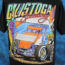 vtg 90s Calistoga Speedway Sprint Car Racing T-Shirt Large narc world of outlaw