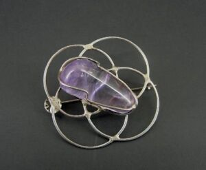 Vintage Large Amethyst Stone Wrapped Sterling Silver 925 BROOCH Pin