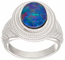 AUSTRALIAN OPAL TRIPLET STERLING SILVER TEXTURED BAND RING SIZE 9 QVC $116.00