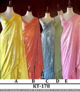 Party Saree Indian Designer Georgette Wedding Women Sequins Bollywood Sari