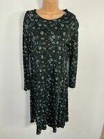 WOMENS MARKS & SPENCER UK12 BLACK/GREEN FLORAL LONG SLEEVE FLARE MIDI DRESS