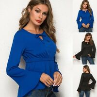 Women Slim Bell Sleeve T-Shirt Tops Tie Front Ladies Blouse Shirt Pullover New