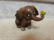 Adorable Josef Originals Baby Elephant w/ Flower Figurine Original Label 5""