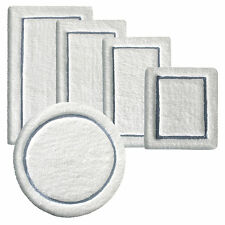 Tapis de bain extra moelleux absorbant blanc bleu rectangle rond antidérapant