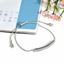 Gold/Silver Plated Crystal Pave Bar Slider Bracelet Adjustable Drawstring Bangle