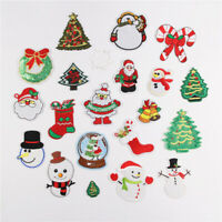 Xmas Christmas Sew Iron On Patches Embroidered Repair For Clothing Applique New