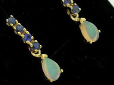 E038 - Lovely Genuine 9ct Solid Gold NATURAL Sapphire & Opal DROP Stud Earrings