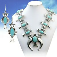 SQUASH BLOSSOM DOUBLE necklace set in silver tone and turquoise  23 INCH ADJ.