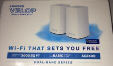 Linksys AC2400 867 + 300 Mbps Velop Intelligent Mesh WiFi System - White, New