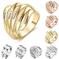 925 Silver Personalised Ring Engrave Family Name Mom's Ring Promise Wedding Gift