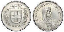 SVIZZERA SWITZERLAND 5 FRANCS 1965 B ARGENTO/SILVER #4017A