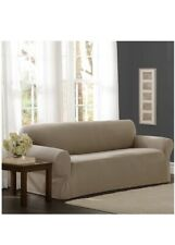 "NEW OPEN BOX Mainstays Stretch Furniture Sofa Cover Tan 38 L x 96 W x 34"" H (R5)"