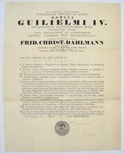 Friedrich Christian Dahlmann Universität Göttingen Handschriftliche Urkunde 1836