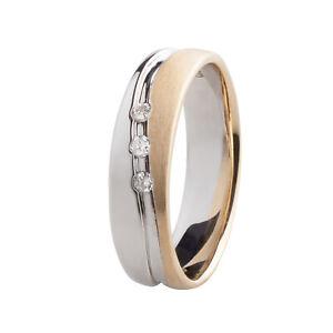 Damen Ring Gold 375 bicolor Weißgold 3 Diamanten 0,06 ct Verlobungsring Brillant