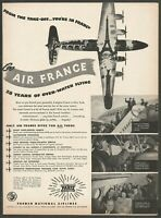 AIR FRANCE French National Airlines with 4-engine Comet - 1947 Vintage Print Ad
