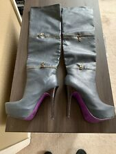Navy Blue Convertable High Heel Boots Size 7