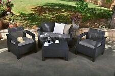 Outdoor Patio Set Garden Yard Lounge Rattan Wicker Furniture Seat Cushions Grey