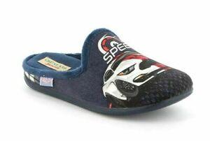GRUNLAND ciabatte pantofole BAMBINO MILK CI2788 BLU velluto AUTO