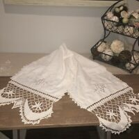 "Vintage Embroidered White Linen Table Runner 64""x16"" Grapes Hand Crocheted Hems"