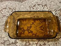 Fire King Anchor Hocking Bread Loaf Pan Vintage 1 QT Amber Glass Baking Dish USA
