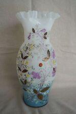 "BRISTOL GLASS VASE Victorian Hand Painted Enamel and Gilt PONTIL 11 1/2"" TALL"