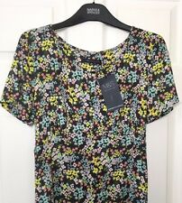M&S s12 Long Ladies Dark Grey Mix Ditsy Floral Print Soft Tea Dress Retro BNWT