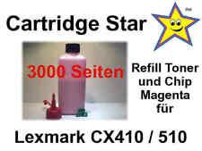 XXL Refill Toner und Reset Chip magenta für Lexmark CX410 CX510 (3000 S.)