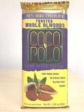 Coco Polo 70% Dark Chocolate Cocoa Bar with Stevia and TOASTED ALMONDS, 2.82 oz