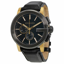 New Gucci G-Chrono Chronograph Black Dial Black Leather Mens Watch YA101203