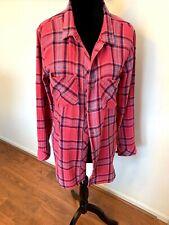 Cloth & Stone Womens Pink Blue Plaid Long Sleeve Gauze Shirt Pleated Back Size M